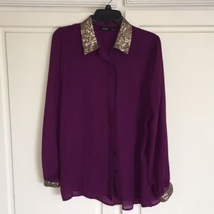 NWOT Apt.9 Sequin Collar Long Sleeve Tunic/Blouse